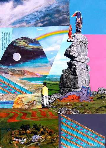 LARRY CARLSON, The Rainbow Bridge, collage on paper, 14x10in., 2013.