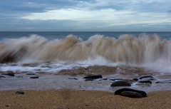 16-2-2013 (Copperhobnob) Tags: sea sky coast sand rocks waves stcombs stcombsbeach