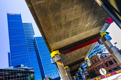 Under the bridge... (mraadsen) Tags: bridge underpass concrete ramp traffic steel sydney australia nsw cbd roads harbourbridge canoneos550d 1585mmf3556isusm
