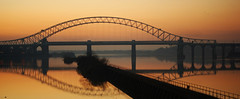 Runcorn Bridge Sunset (Silty Bottom) Tags: bridge river runcorn manchestershipcanal rivermersey runcornbridge