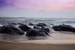 Silent Waves (Sankaranarayan B) Tags: longexposure morning sea sky india beach water clouds canon eos rocks waves hues foam chennai tamilnadu southindia kovalam cwc 600d bej abigfave flickraward chennaiweekendclickers flickraward5 bsankaranarayan sankaranarayan sankarz sankarzshutter