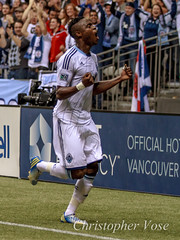 Gershon Koffie Goal Celebration (The Vancouver Herald) Tags: toronto ontario canada vancouver football britishcolumbia soccer dominion cascadia tfc bcplace mls majorleaguesoccer 2013 associationfootball westernconference torontofc dominionofcanada easternconference vancouverwhitecapsfc gershonkoffie vwfc