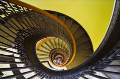 Spiraling (David Shield Photography) Tags: sanfrancisco california light color architecture nikon interior bayarea spiralstaircase poststreet mechanicslibrary davidshield