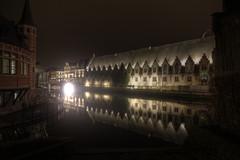 Gent Belgium (Mick's mind) Tags: city night graffiti sightseeing landmarks historic gent nightphotos brigde