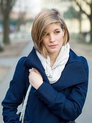 Fruzsina (Locsmandisz) Tags: park street blue portrait people girl face look spring dof bokeh olympus greeneyes omd blondy sopron