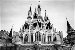 Capturing her good side - Cinderella Castle (Explored) (Adam Hansen) Tags: blackandwhite bw orlando nikon disney adobe wdw waltdisneyworld magickingdom fantasyland lightroom cinderellacastle d90 disneyvacation disneycastle disneyphotography
