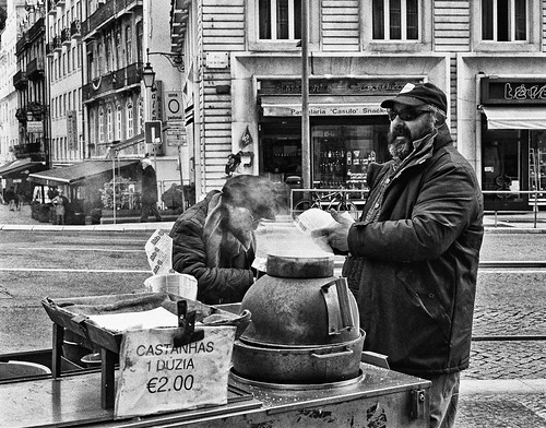Selling baked chestnuts on Lisbon streets