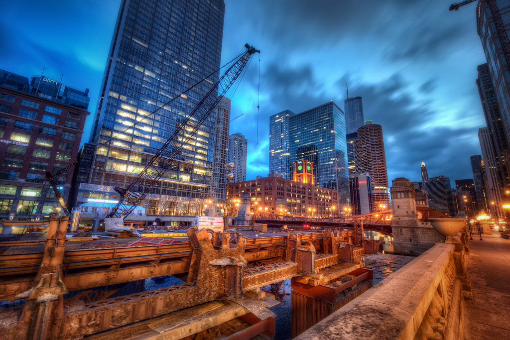 A shot of the construction going on in between the Wells and LaSalle Street bridges over the Chicago River.