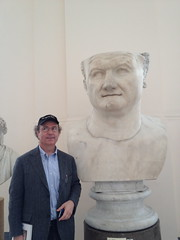 Frank Wilczek with giant head of Vespasian (betsythedevine) Tags: italy museum march naples 2013 museoarcheologiconazionale