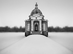 The Pavilion (Baggers 2013) Tags: uk winter england blackandwhite snow cold miniature beds bedfordshire pavilion quirky sortof canon1022mm tiltandshift wrestpark canon7d coldestmarchfor50years