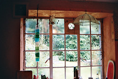 panes (FlorenceEloise) Tags: blue windows decorations light red summer sun house colour cute green film window kitchen glass 35mm vintage dark outside photography warm pretty cottage sunny heat hanging inside windowpane windowpanes