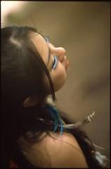 (✞bens▲n) Tags: blue film fashion japan model eyelashes pentax feathers feather 85mm slide provia lx f15 100f helios40