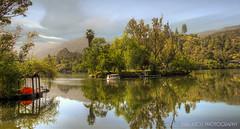 nature lover (Kris Kros) Tags: california ca camera lake reflection tree nature clouds photoshop boat raw malibu hills kris lover islet hdr kkg agoura photomatix cs6 kros maliboulake kriskros 5xp malibou kkgallery