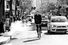 San Francisco | 1 (M.E. Amrani) Tags: sf life sanfrancisco street bw usa white man black cars bike bicycle america blackwhite san francisco traffic taxi smoke sunny busy american fransisco sanfransisco newpapers cablebus
