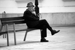 Square Art Gyr (gambit03) Tags: old city bw man hat bench square blackwhite place alt platz stock pad bank hut sw stick mann zentrum ff raab bot innenstadt gyor tr gyr kalap schwarzweis feketefehr belvros zenter szchenyitr ids frfi
