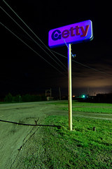 Purple Getty (Nocturnal Kansas) Tags: longexposure nightphotography lightpainting night gas gasstation fullmoon kansas getty outofservice paintwithlight nocturnes gettyoil