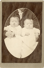 Twin Babies with Hidden Parent - Cabinet Card by Texas Photographer (Photo_History - Here but not Happy) Tags: cabinetcard twinbabies alvaradotexas hiddenmother