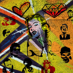 marilyn-04-04 (PASLIER MORGAN) Tags: red streetart dylan art love colors collage wall marilyn rouge army star grafitti you tag culture graph amour hero spock actress iloveyou hendrix mur couleur icone artiste bluesbrother brillant jetaime dutronc diams