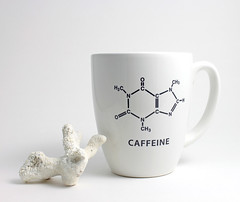 Caffeine Chemistry Coffee Cup (lltownley) Tags: blackandwhite art cup coffee ceramics coffeecup science chemistry mug hexagon pottery coffeemug etsy caffeine molecule lltownley