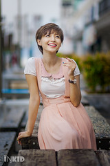 DSC00813 (inkid) Tags: female women model portrait outdoor bokeh dof ambient light street fashion  agnes lim people short hair natural lights sigma 85mm f14 hsm