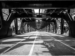 Chicago Bridge (tubblesnap) Tags: road bridge bw white chicago black river iron path landmark icon adobe cycle lane deserted lightroom wrought