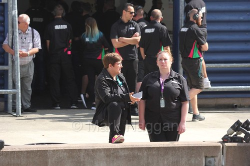 Andrea and Holly from Team Hard in the pit lane at Rockingham, August 2016