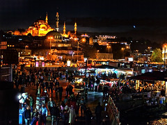 Istanbul Night (creditflats) Tags: istanbul mosque crowd street market spice minaret night light dark glow