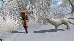 Athena (262) (Athena0232) Tags: pizazz couture pzc woman girl blonde shoes boots dress wolf loup tree white sexy snow plants
