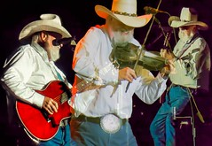 Charlie Daniels Times Three (Wes Iversen) Tags: charliedaniels hss michigan mountpleasant nikkor18300mm sliderssunday beltbuckles composites concerts cowboyhats fiddles guitars muscians music