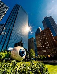 Eye Of Dallas (spanjavan) Tags: eye architecture buildings sun reflection grass downtown dallas texas daytime comerica thanksgivingtower wilsonbuilding morning public