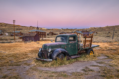 Belt of Venus Over Bodie's Green Truck (Jeff Sullivan (www.JeffSullivanPhotography.com)) Tags: bodie state historic park night photography workshop abandoned wild wiest ghost town eastern sierra bridgeport mono county california canon eos 6d copyright september 2016 jeff sullivan green truck 1940 ford commercial photomatixpro