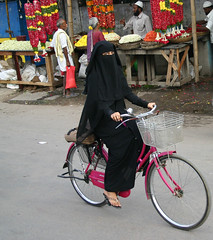 Black veil, pink bicycle (StefT) Tags: india hijab niqab andhrapradesh kurnool