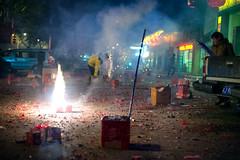 Lunar New Year Celebration (j.wilkiewicz) Tags: china night fun 50mm hotel fight dangerous workers mess fireworks f14 chinese chinesenewyear newyear celebration burns rocket february sparks lunar lunarnewyear firecrackers taizhou 2013 1stofjanuary jiaojiang