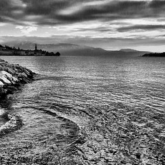 The silver lake... (marcomenk) Tags: samsung galaxynote2 prohdrcamera picsaypro lake gardalake lagodigarda lombardia italia italy rocks mountains blackandwhite bw silver flickrandroidapp:filter=none