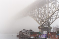 Foggy Kayak Trip (bombeeney) Tags: seattle bridge lake film water yellow fog analog boats grey george washington jump memorial kayak unitedstates queenanne suicide naturallight places structure fremont historic national aurora sound rowing lakeunion register aurorabridge puget unedited auroraavenue cantilever truss nationalregisterofhistoricplaces route99 georgewashingtonmemorialbridge fremontcut
