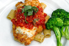 Chicken Parm with Fresh Broccoli (Sierra Springs Photography) Tags: food chicken cheese dinner italian broccoli noodles tomatosauce entree chickenparmesan yeschef