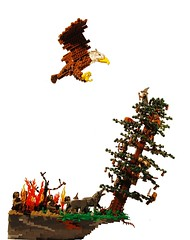 Out of the Frying-Pan into the Fire (Legopard) Tags: tree film berg stone forest movie fire fight lego eagle dwarf adler battle lord lotr rings dio kliff hobbit herr hdr diorama orc moc zwerge ork warg legopard derringe