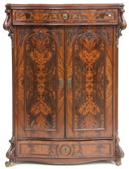 51. Continental Serpentine Front Rococo Revival Cabinet / Linen Press