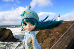 Windy day at Yaquina Head Lighthouse (jessi.bryan) Tags: ocean trip vacation lighthouse beach oregon windyday doll waves wind pacificocean blythe yaquinahead eurotrash yaquinaheadlighthouse anniversarydoll wingsinflight eurotrashhelmet princessalamode