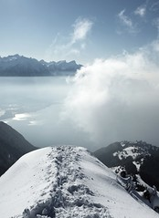 The big jump (Ajy Tojen) Tags: mist mountain lake snow ski alps clouds switzerland geneva swiss skitouring montreux vaud jaman caux peaudephoque merdasson