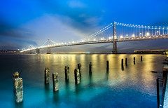SINCE WHEN (Rober1000x) Tags: sanfrancisco california longexposure bridge night lights bay financialdistrict baybridge embarcadero bluehour southbeach oldpier 2013