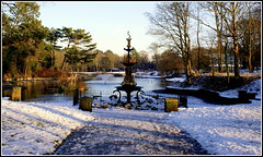 Welcome to winter (* RICHARD M) Tags: trees winter lake snow cold ice water fountain weather frozen shadows january parks freezing paths southport pathway scapes winterwonderland parkland winterscape merseyside wintry sefton publicparks heskethpark