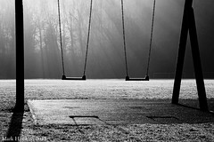 between us (MHPhotos_) Tags: trees shadow mist playground forest couple pair swings gloucestershire nostalgia recreation forestofdean soudley recreationground