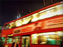 Whoosh - (maistora) Tags: road street city uk light red urban motion blur bus london mobile night speed advertising lights marketing phone walk sony trails cellphone talk move smartphone filter pan process effect postprocess passerby android app edit aldgate doubledecker defocus fenchurch maistora englandbritain xperia picsay flickrandroidapp:filter=none xperias