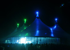 Dance Tent (Jammy C) Tags: blue light people green festival night dark marquee big shadows shine top stage crowd silhouettes tent poles bestival 2012