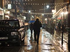 Lit Up Like a Christmas Tree (Magic Pea) Tags: blue man london lamp rain umbrella reflections photography lights photo streetlights candid streetphotography raining farringdon exmouthmarket londonraining magicpea
