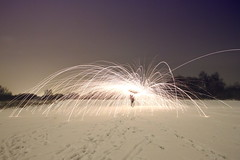 Beware! Low flying sparks. (blacksplat) Tags: light snow wool night dark painting fire wire long exposure bright steel creative spinning