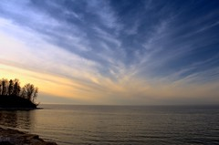 Lake Ontario (Tom Pruzenski) Tags: blue sunset sky lake newyork color art nature water clouds contrast photography cool interesting nikon flickr pretty hiking rochester lakeontario panstarrs d7000 tompruzenski