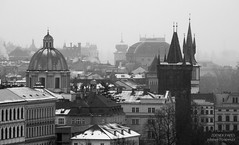 Towers, Prague (Zdenek Papes) Tags: street city bridge schnee winter urban blackandwhite bw white snow black reflection tower rain architecture canon river landscape prague strasse gray grau prag praha most stadt architektur brcke fluss turm landschaft zima spiegelung papes msto ulice zdenek architektura weis snh schwarzweis zdenk v pape