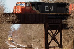 We have over, where's the under? (Trainham) Tags: cn genoa canadianpacific cp canadiannational overunder kcs 694 genoaillinois m338 kcs4608 kcs4616 cn5706 cn2440